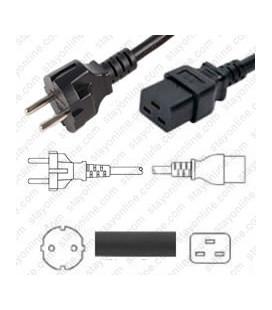 Korea KSC 8305 Male to C19 Female 3.0 Meters 16 Amp 250 Volt H05VV-F 3x1.50 Black Power Cord