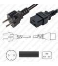 Korea KSC 8305 Male to C19 Female 3.0 Meters 16 Amp 250 Volt H05VV-F 3x1.50 Black Power Cord