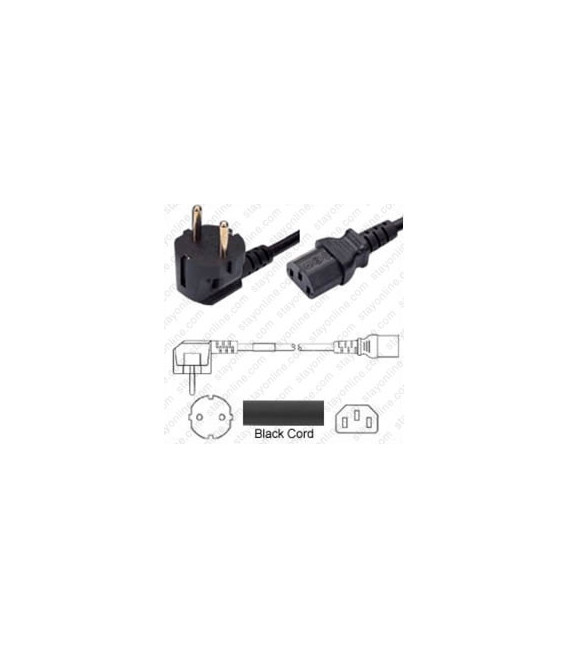 Korea KSC 8305 Down Male to C13 Female 1.8 Meters 10 Amp 250 Volt H05VV-F 3X0.75 Black Power Cord