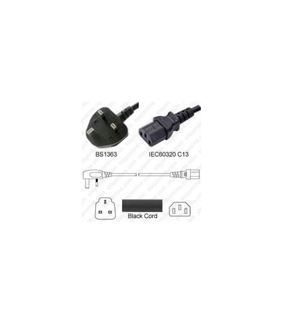 Power Cord Gulf States BS1363 Male Plug Angled Down to IEC60320 C13 Black 0.5 Meter / 1.25 Feet 10 Amp 250 Volt H05VV-F3G.75