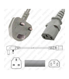 Power Cord Gulf States BS1363 Male Plug Angled Down to IEC60320 C13 Grey 2.0 Meter / 6.5 Feet 10 Amp 250 Volt H05VV-F3G.75