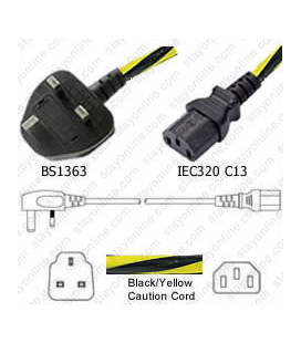 Power Cord Gulf States BS1363 Male Plug Angled Down to IEC60320 C13 Caution 2.0 Meter / 6.5 Feet 10 Amp 250 Volt H05VV-F3G1.0