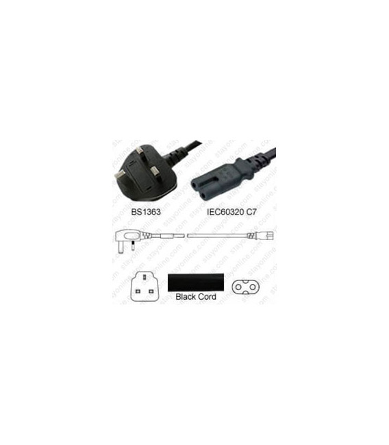 Power Cord Gulf States BS1363 Male Plug Angled Down to IEC60320 C7 Black 2.0 Meter / 6.5 Feet 2.5 Amp 250 Volt H05VV-F3G.75