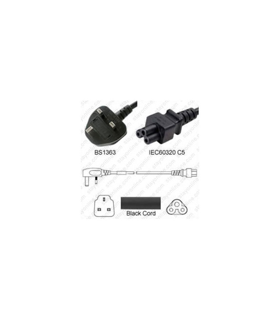 Power Cord Gulf States BS1363 Male Plug Angled Down to IEC60320 C5 Black 2.0 Meter / 6.5 Feet 2.5 Amp 250 Volt H05VV-F3G.75