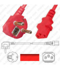 Power Cord Gulf States BS1363 Male Plug Angled Down to IEC60320 C13 Red 2.5 Meter / 8 Feet 10 Amp 250 Volt H05VV-F3G1.0