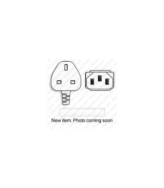 Power Cord Gulf States BS1363 Male Plug Angled Down to IEC60320 C13 White 2.5 Meter / 8 Feet 10 Amp 250 Volt H05VV-F3G1.0