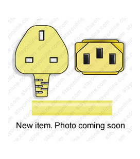 Power Cord Gulf States BS1363 Male Plug Angled Down to IEC60320 C13 Yellow 2.5 Meter / 8 Feet 10 Amp 250 Volt H05VV-F3G1.0