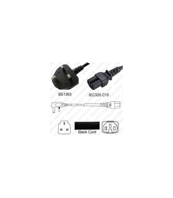Power Cord Gulf States BS1363 Male Plug Angled Down to IEC60320 C15 Black 1.8 Meter / 6 Feet 10 Amp 250 Volt H05VV-F3G.75