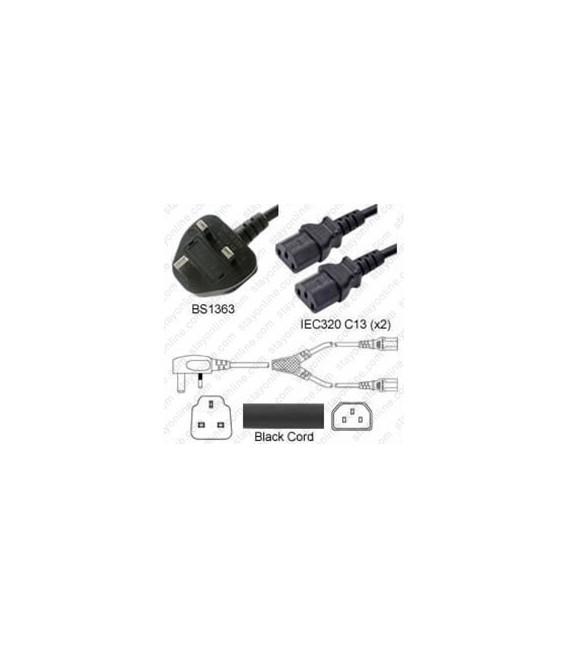 Power Cord Gulf States BS1363 Male Plug Angled Down to IEC60320 x2 C13 Black 1.0 Meter / 3.25 Feet 10 Amp 250 Volt H05VV-F3G1.0