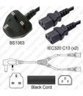 Power Cord Gulf States BS1363 Male Plug Angled Down to IEC60320 x2 C13 Black 2.0 Meter / 6.5 Feet 10 Amp 250 Volt H05VV-F3G1.0