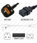Power Cord Gulf States BS1363 Male Plug Angled Down to IEC60320 C19 Black 2.5 Meter / 8 Feet 13 Amp 250 Volt H05VV-F3G1.5