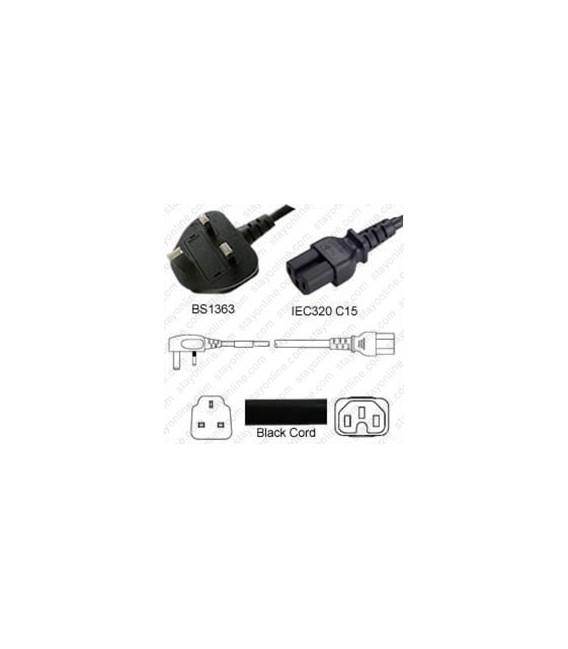 Power Cord Gulf States BS1363 Male Plug Angled Down to IEC60320 C15 Black 2.5 Meter / 8 Feet 10 Amp 250 Volt H05VV-F3G1.0