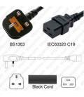 Power Cord Gulf States BS1363 Male Plug Angled Down to IEC60320 C19 Black 3.0 Meter / 10 Feet 13 Amp 250 Volt H05VV-F3G1.5