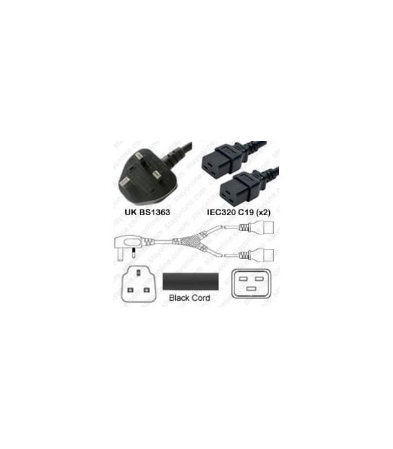 Power Cord Gulf States BS1363 Male Plug Angled Down to IEC60320 x2 C19 Black 2.0 Meter / 6.5 Feet 13 Amp 250 Volt H05VV-F3G1.5