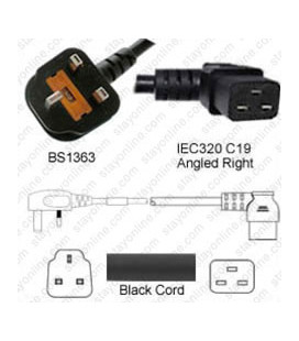 Power Cord Gulf States BS1363 Male Plug Angled Down to IEC60320 C19 Right Black 3.0 Meter / 10 Feet 13 Amp 250 Volt H05VV-F3G1.5