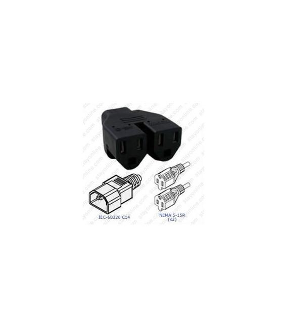 Plug Adapter IEC 60320 C14 Plug to 2 x NEMA 5-15 Connector Block Adapter - Black