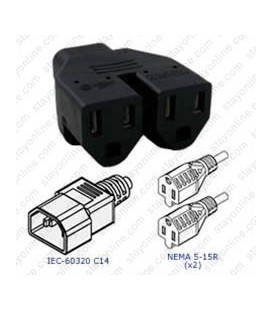 Plug Adapter IEC 60320 C14 Plug to 2 x NEMA 5-15 Connector Block Adapter - Black