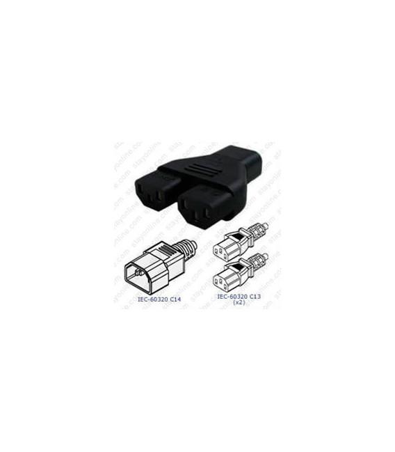 C14 Plug to x2 C13 Connector Block Adapter - Black