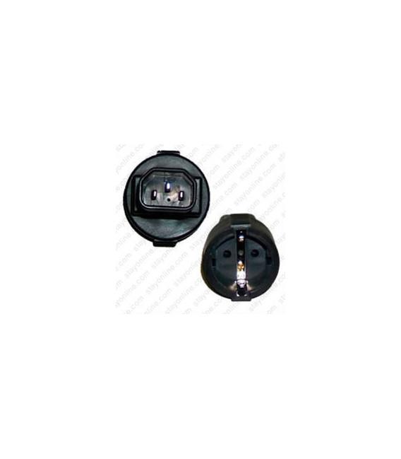 C14 Male Plug to Schuko CEE 7/7 Female Connector 10 Amp 250 Volt Block Adapter - Black