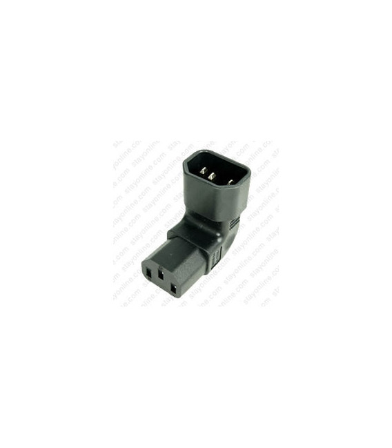 IEC 60320 C14 Plug Up Angle to IEC 60320 C13 Connector Block Adapter - Black - CE