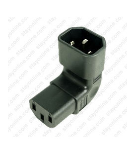IEC 60320 C14 Plug Down Angle to IEC 60320 C13 Connector Block Adapter - Black - CE