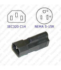 C14 Plug to North America NEMA 5-15 Connector Block Adapter - Black