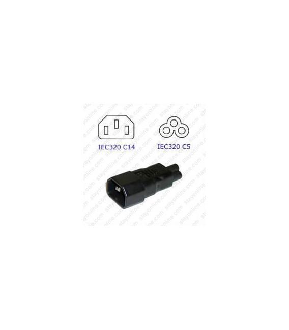C14 Plug to C5 Connector Block Adapter - Black