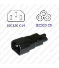 C14 Plug to C5 Connector Block Adapter - Black