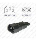 C14 Plug to C7 Connector Block Adapter - Black