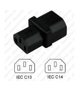 C14 Plug to C13 Connector Block Adapter - Black CE