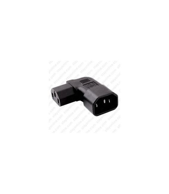 IEC 60320 C14 Plug Right Angle to IEC 60320 C13 Connector Block Adapter - Black - CE