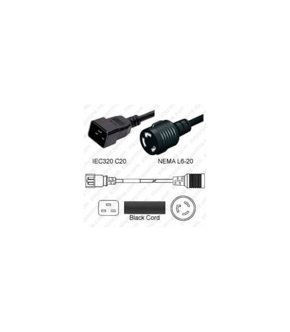 C20 Plug Male to North America NEMA Locking L6-20 Female 0.3 Meter Plug Adapter Cord 12/3 SJT - Black