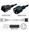 C20 Plug Male to North America NEMA Locking L6-20 Female 0.3 Meter Plug Adapter Cord 12/3 SJT - Black