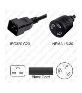 C20 Plug Male to North America NEMA Locking L6-30 Female 0.3 Meter Plug Adapter Cord 12/3 SJT - Black