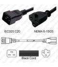 C20 Plug Male to North America NEMA 6-15/20 T-Slot Female 0.3 Meter Plug Adapter Cord 12/3 SJT - Black