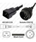 C20 Male to France CEE 7/5 Female 0.5 Meter 10 Amp 250 Volt H05VV-F 3x1.0 Black Power Cord