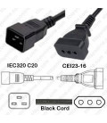 C20 Male to Italy CEI 23-16 Female 0.5 Meter 10 Amp 250 Volt H05VV-F 3x1.0 Black Power Cord