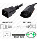 C20 Male to Switzerland SEV 1011 Female 0.5 Meter 10 Amp 250 Volt H05VV-F 3x1.0 Black Power Cord