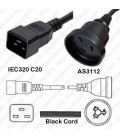 C20 Male to Australia AS 3112 Female 0.5 Meter 10 Amp 250 Volt H05VV-F 3x1.0 Black Power Cord