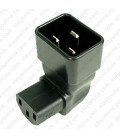 IEC 60320 C20 Plug to IEC 60320 C13 Down Angle Connector Block Adapter - Black