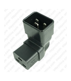 IEC 60320 C20 Plug to IEC 60320 C19 Up Angle Connector Block Adapter - Black