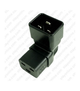 IEC 60320 C20 Plug to IEC 60320 C19 Down Angle Connector Block Adapter - Black