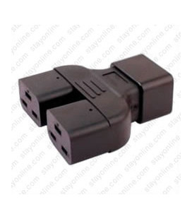 C20 Plug to x2 C19 Connector Block Adapter - Black