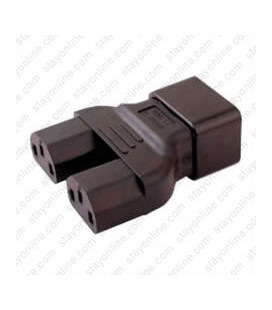 C20 Plug to x2 C13 Connector Block Adapter - Black