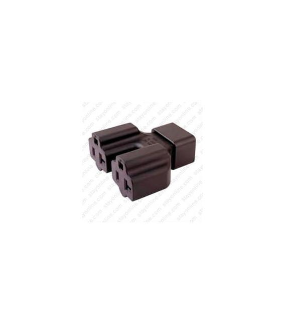 C20 Plug to x2 North America NEMA 5-15/20 Connector Block Adapter - Black