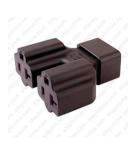 C20 Plug to x2 North America NEMA 5-15/20 Connector Block Adapter - Black