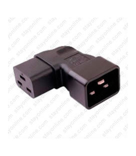 IEC 60320 C20 Plug to IEC 60320 C19 Right Angle Connector Block Adapter - Black