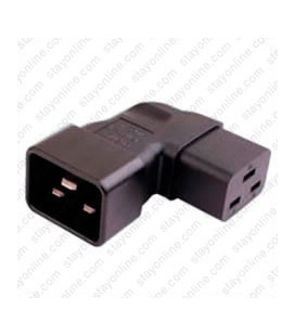 IEC 60320 C20 Plug to IEC 60320 C19 Left Angle Connector Block Adapter - Black