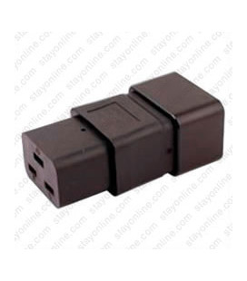 IEC 60320 C20 Plug to IEC 60320 C19 Connector Block Adapter - Black