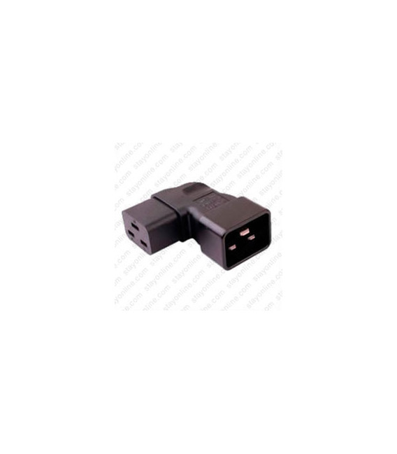 IEC 60320 C20 Plug to IEC 60320 C19 Connector Right Angle Block Adapter - Black - CE